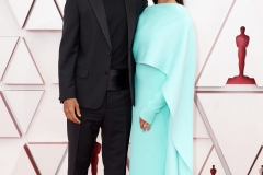 Oscar® nominee Riz Ahmed and Fatima Farheen Mirza arrive on the red carpet of The 93rd Oscars® at Union Station in Los Angeles, CA on Sunday, April 25, 2021.
