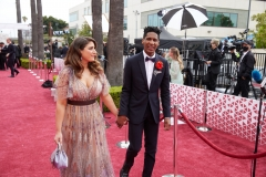 Oscar® nominee Jon Batiste and guest arrive on the red carpet of The 93rd Oscars® at Union Station in Los Angeles, CA on Sunday, April 25, 2021.